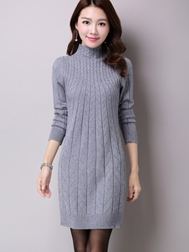 Ericdress Stand Collar Weave Knitting Sweater Dress