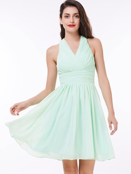 Ericdress kurzen A Linie Neckholder Chiffon Falten Prom Party Dress
