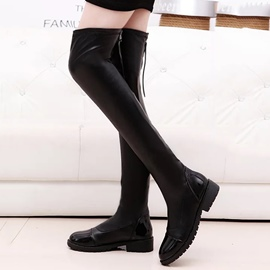 Ericdress Black Back Zipper Over-the-Knee Women's Boots