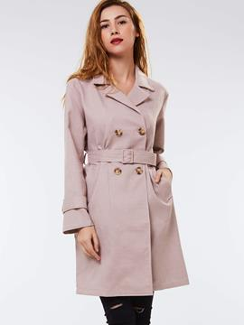 Ericdress Slim Plaid Belt Coat