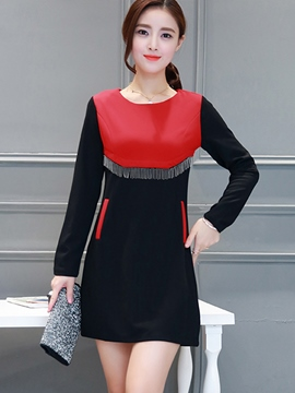 Ericdress Color Block Tassel Pocket Bodycon Dress