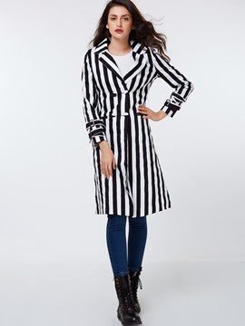 Ericdress Slim Stripped Trench Coat