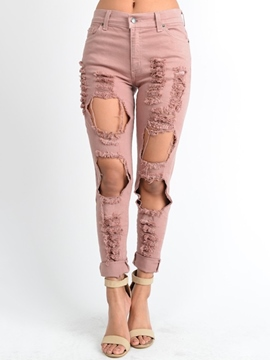 Ericdress Unique Solid Color Jeans