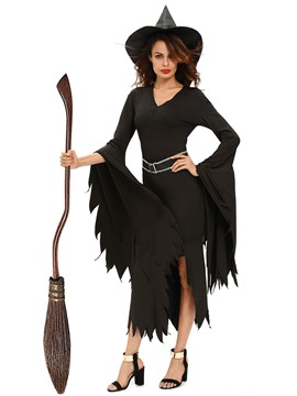 Ericdress Black Notched V-Neck Witch Cosplay Halloween Costume