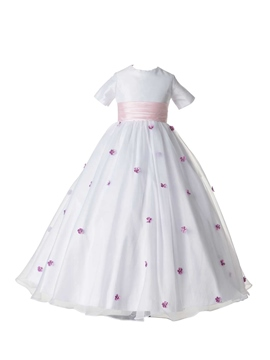 Ericdress Beautiful Jewel Short Sleeves Bowknot Flower Girl Dress