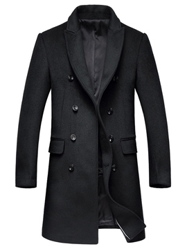 Ericdress Plain Mid-Length Vogue Slim Men's Wool Coat