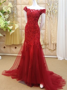 Ericdress Off The Shoulder Applique Beaded Mermaid Long Evening Dress