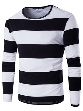 Ericdress Stripe Round Neck Slim Men's T-Shirt