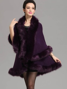 Ericdress Solid Color Faux Fur Collar Loose Cape