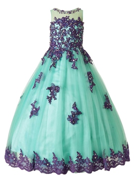 Ericdress Beautiful Jewel Appliques Beaded Floor Length Flower Girl Dress