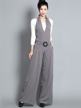 Ericdress Solid Color Backless Halter Jumpsuits Pants