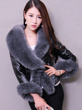 Ericdress Slim Faux Fur Collar Coat