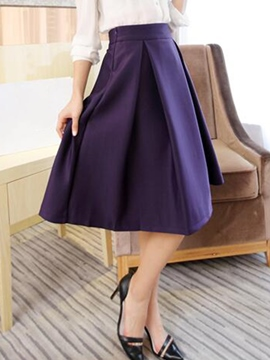 Ericdress Simple Pleated Usual Skirt