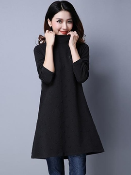 Ericdress Turtleneck Pattern Trumpet Casual Dress