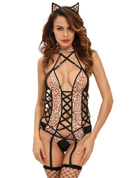 Ericdress Leopard Cross Hollow Sexy Animal Costume