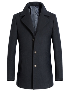 Ericdress Single-Breasted Mid-Length Slim Men's Woolen Coat