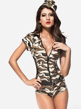 Ericdress Camouflage Deep V-Neck Sexy Cosplay Costume