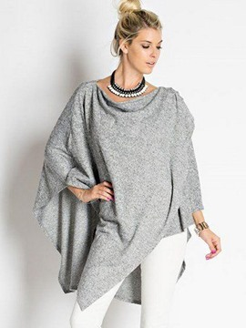 Ericdress Gray Asymmetric Caped T-Shirt
