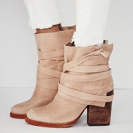 Ericdress Light Brown Block Heel Ankle Boots