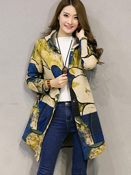Ericdress Printed Hooded Coat