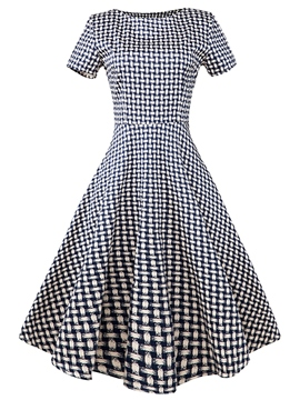 Ericdress Plaid Short Sleeve Patchwork Pleated Casual Dress