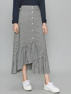 Ericdress Unique Irregular Plaid Skirt