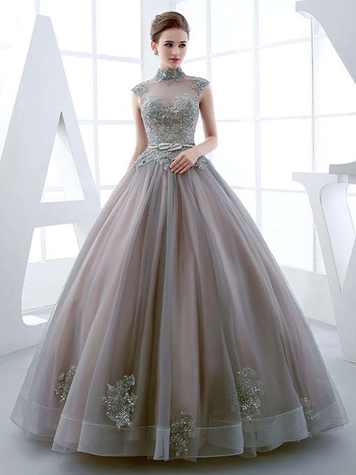 Ericdress High Neck Ball Gown Appliques Quinceanera Dress 2019