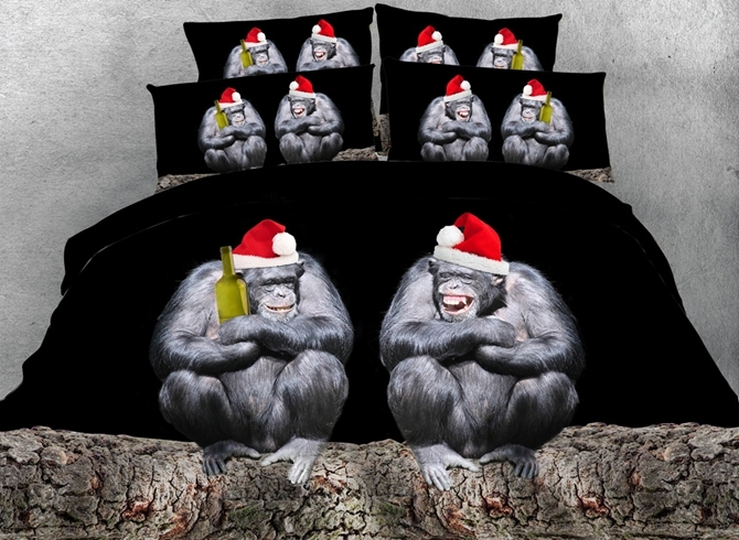 Orangutan with Santa Hat Printed Cotton 3D 4-Piece Bedding Sets/Duvet Covers