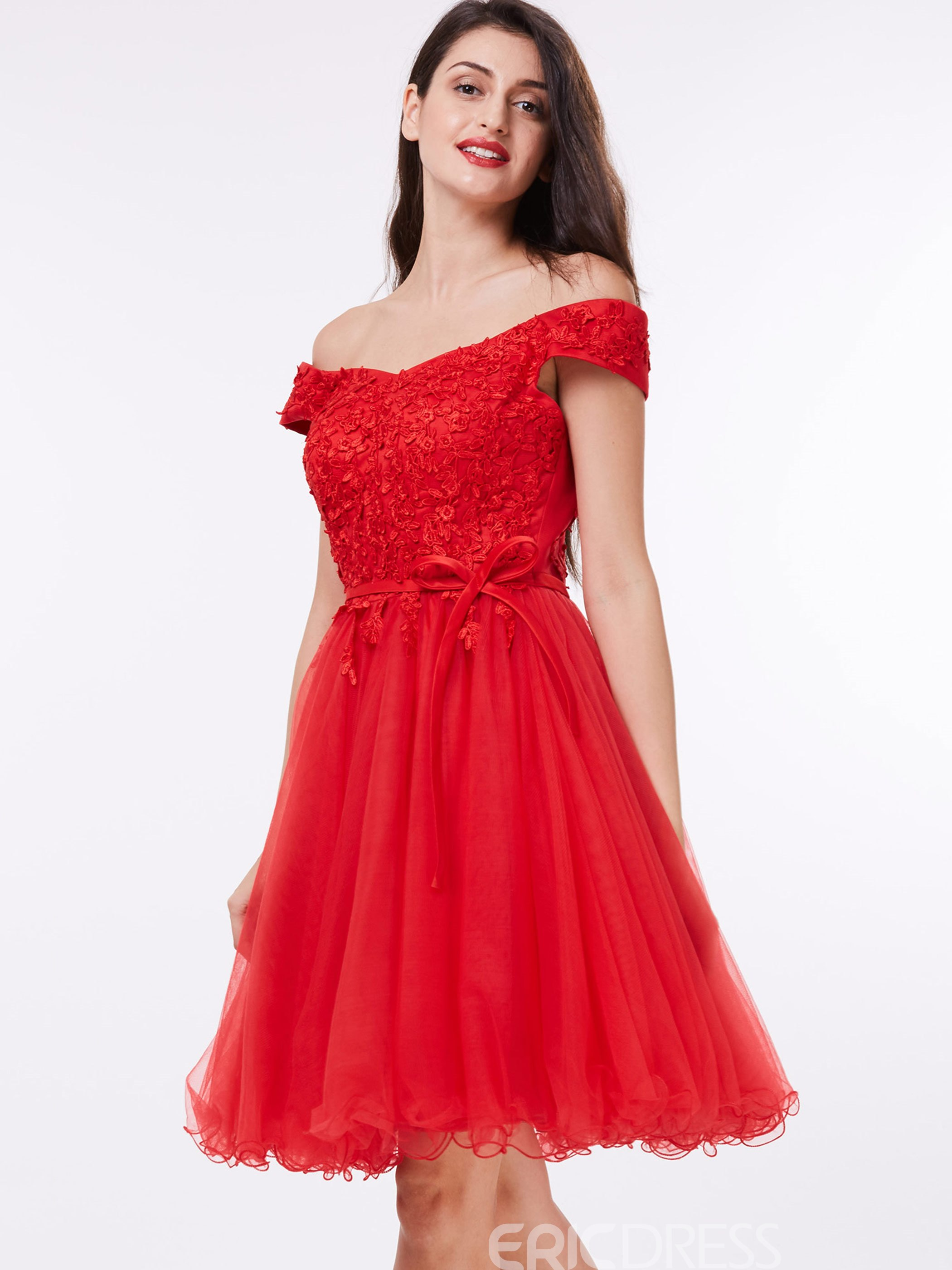 Ericdress Off the Shoulder Bowknot Appliques Red Homecoming Dress