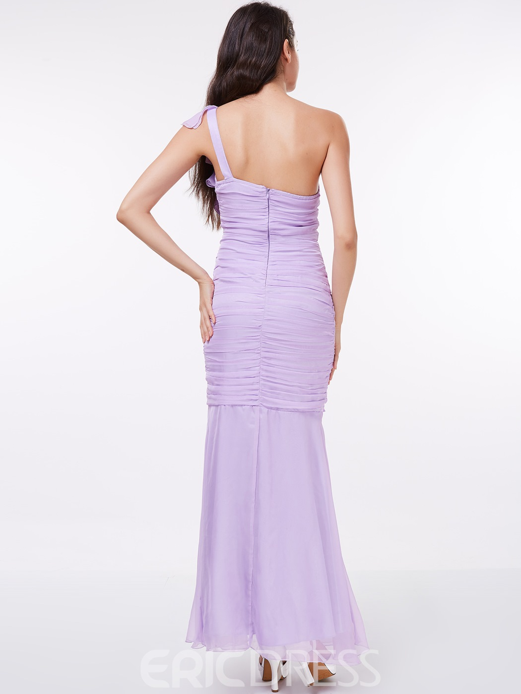 Ericdress Sheath One Shoulder Ruffles Evening Dress