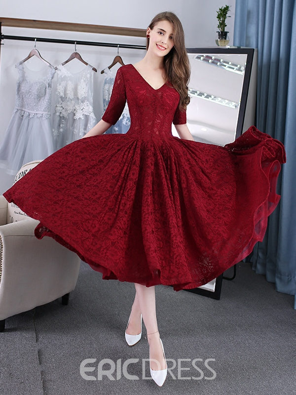 Evening Dress A-Line V-Neck Lace Tea-Length 12531087 - Ericdress.com