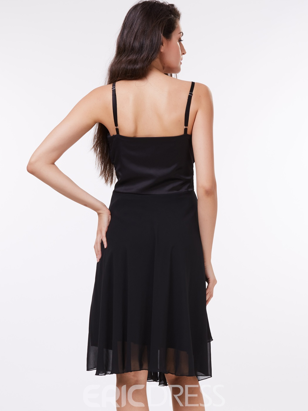 Ericdress Spaghetti Straps Beading Black Cocktail Dress