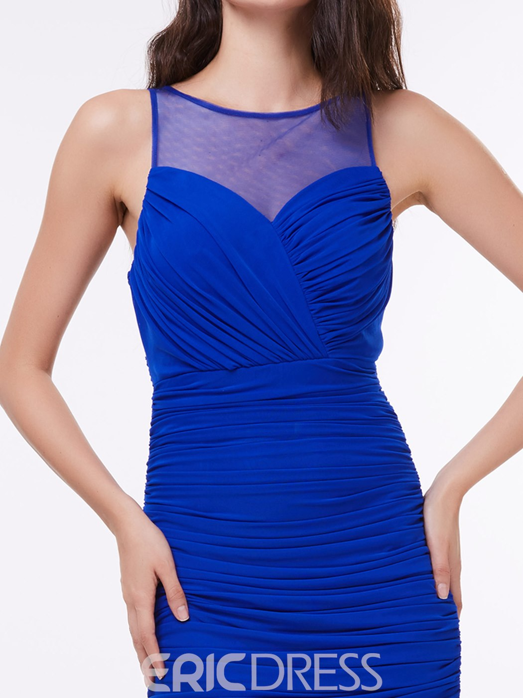Ericdress Illusion Neck Ruched Sheath Long Evening Dress