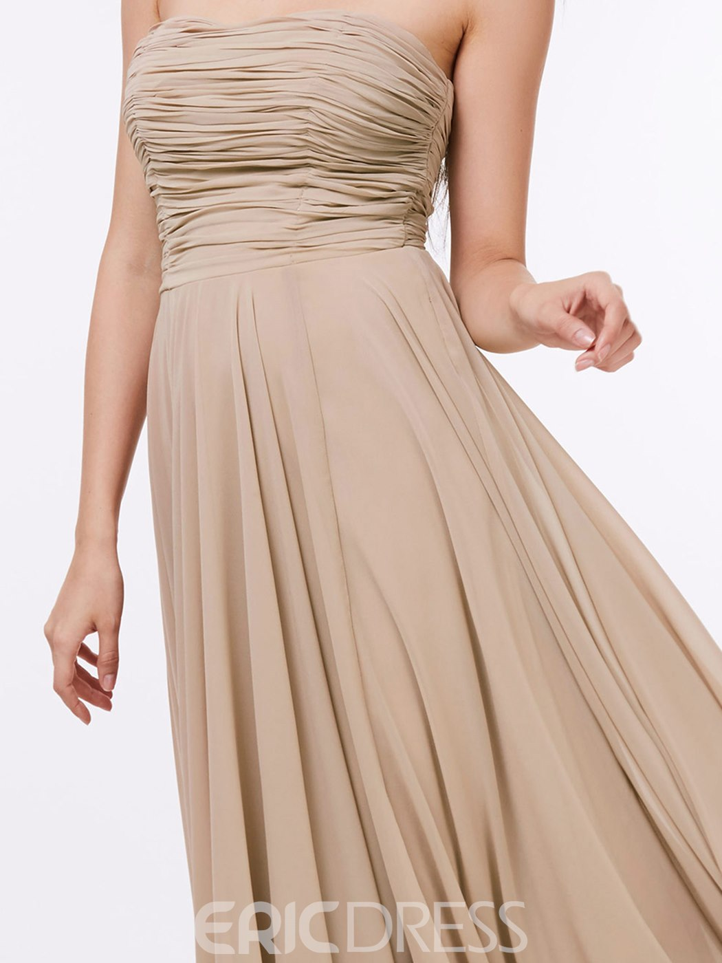 Ericdress A-Line Strapless Ruched Ankle-Length Prom Dress