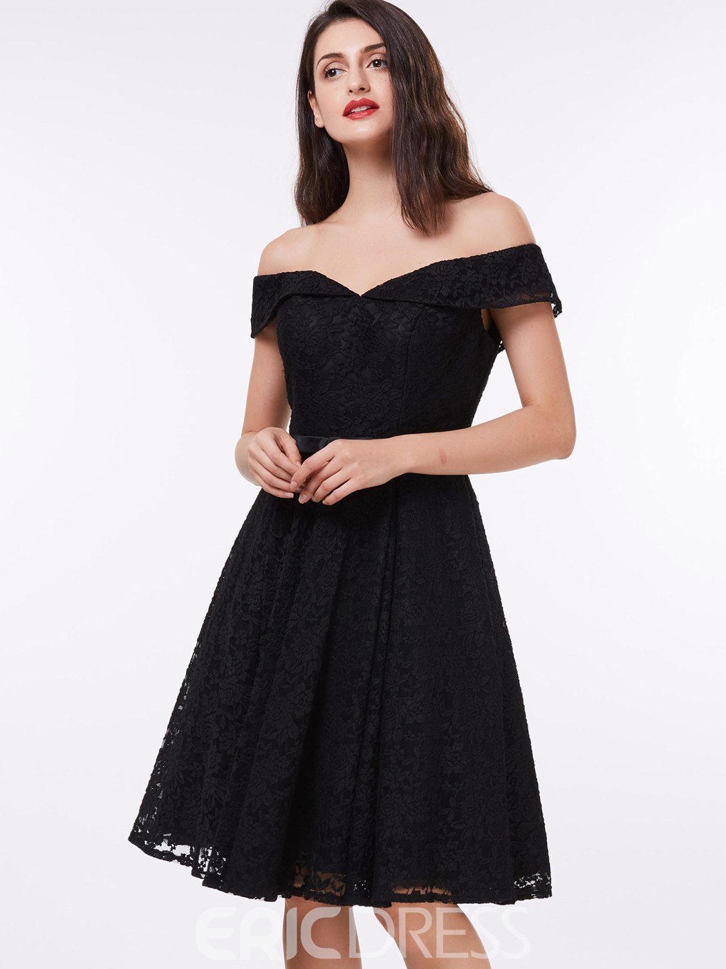 Ericdress Modern Off the Shoulder Black Lace Cocktail Dress