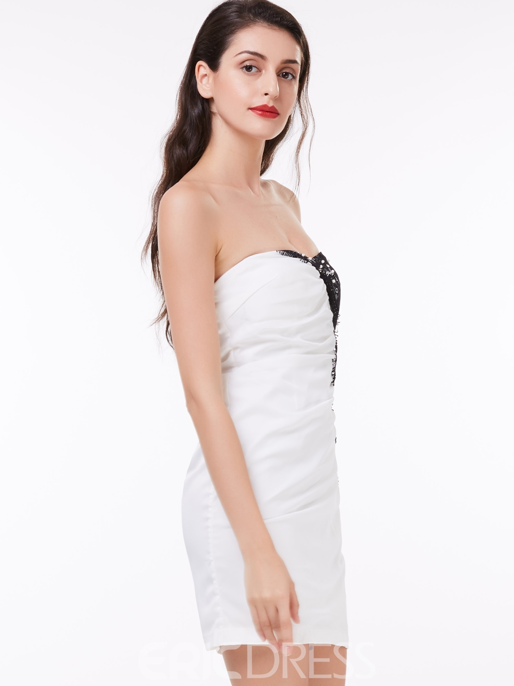 Ericdress Sexy Sheath Strapless Applique Short/Mini Cocktail Dress