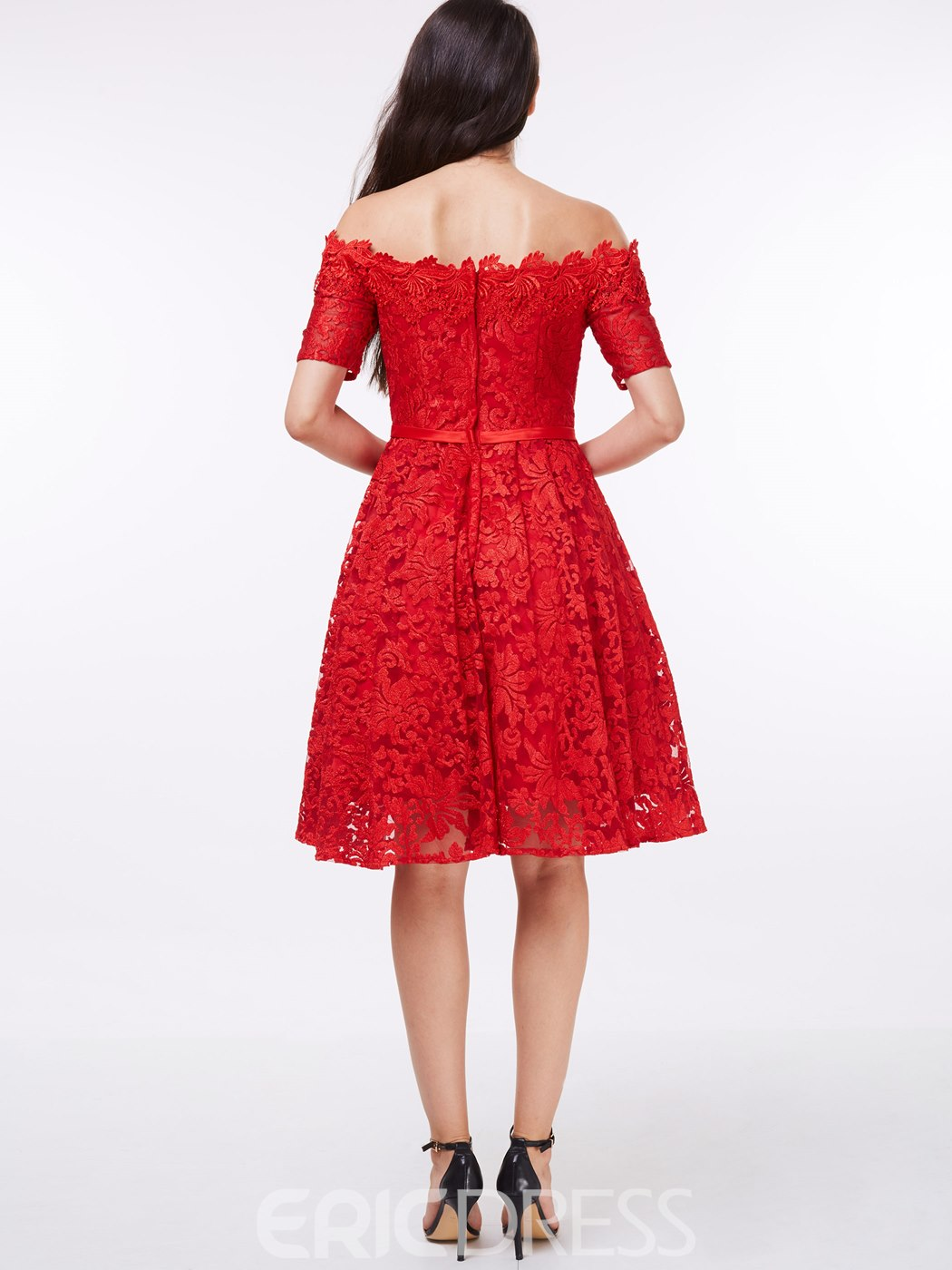Ericdress Off the Shoulder Short Sleeves Red Lace Homecoming Dress