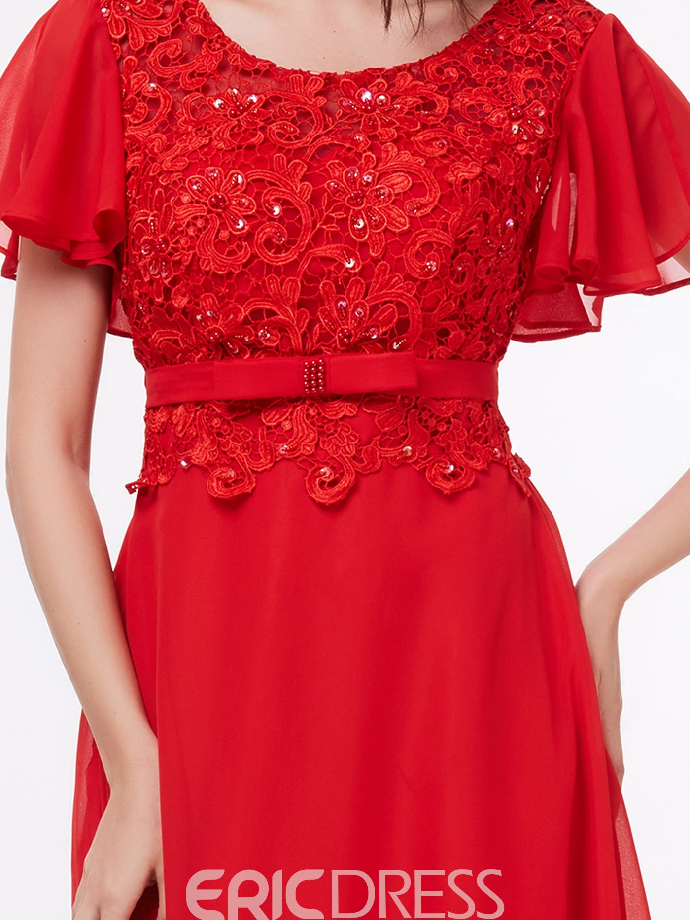 Ericdres A-Line Short Sleeves Lace Sequins Evening Dress In Floor-Length