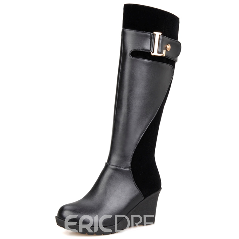 Ericdress European Round Toe Wedge Heel Knee High Boots