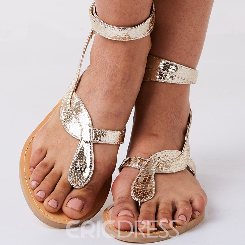 Ericdress Snake Shape Cross Strap Thong Flat Sandals