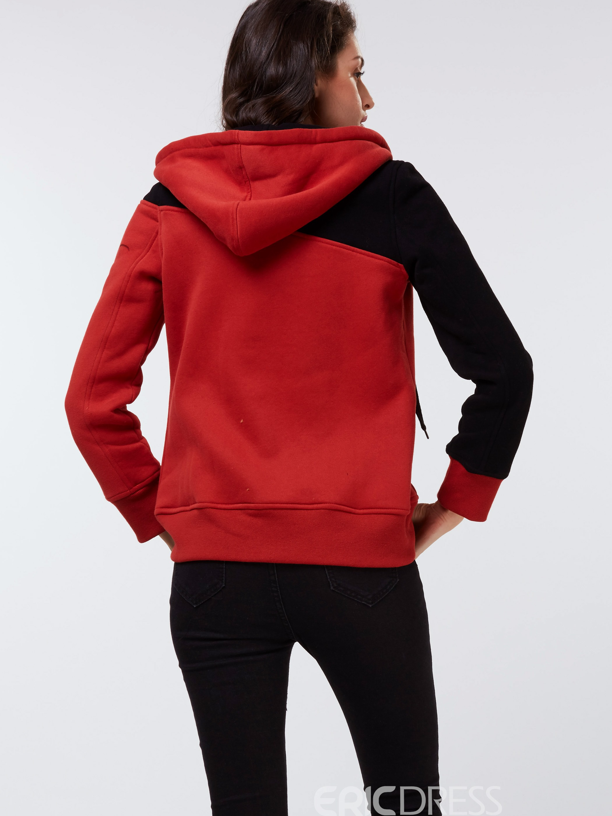 Ericdress Color Block Asymmetric Straight Hoodie