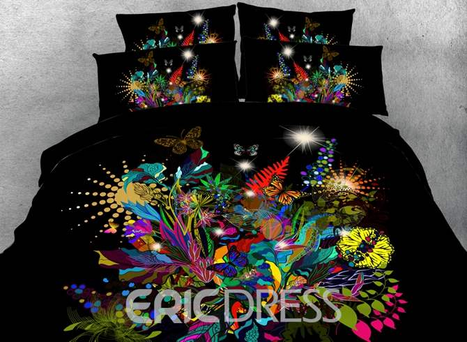 Stunning Floral and Butterfly Printed Cotton 3D 4-Piece Black Bedding Sets/Duvet Covers