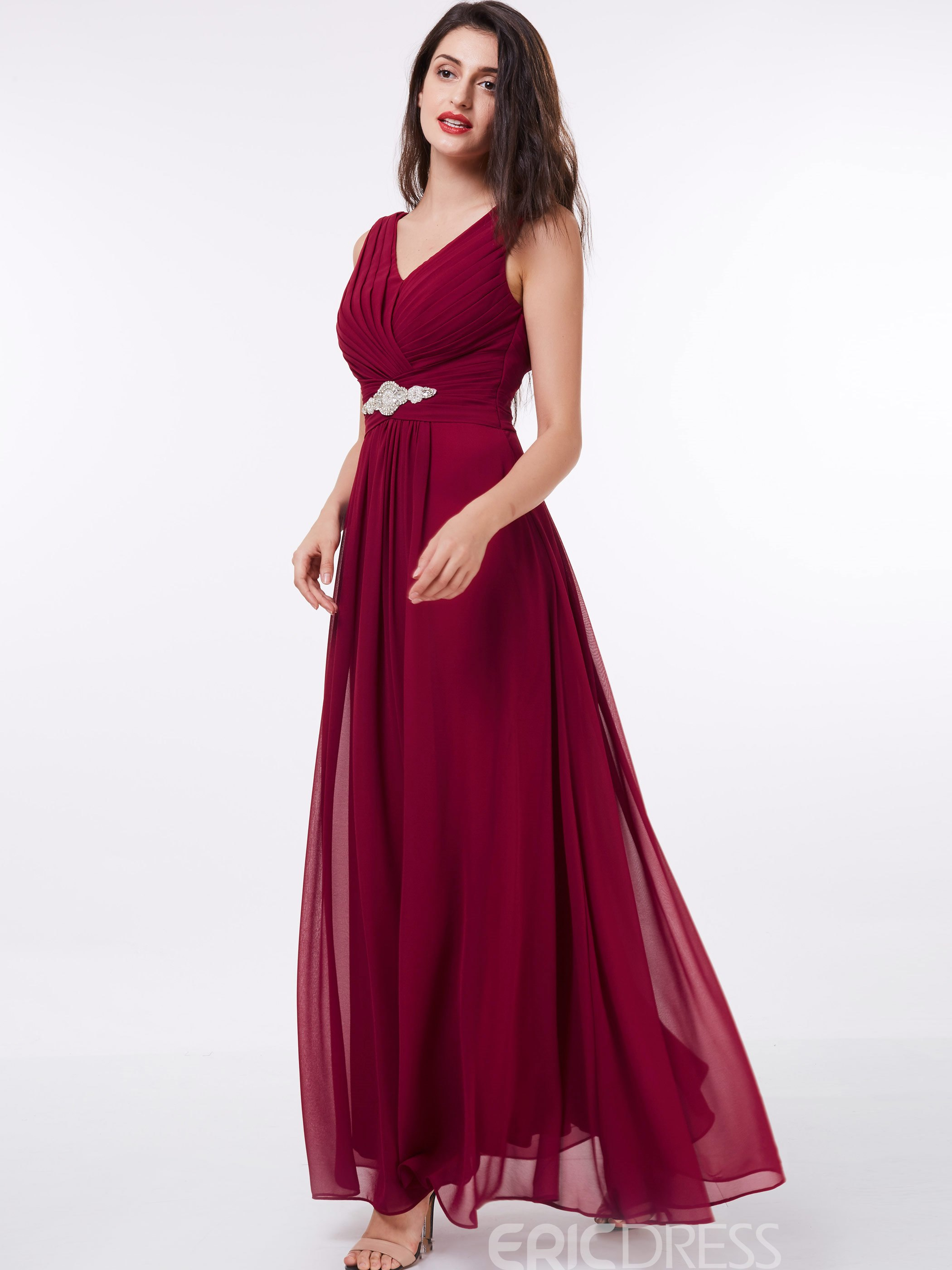 Ericdress A-Line V-Neck Beading Ruched Floor-Length Evening Dress