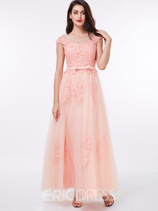 Ericdress Scoop Neck Cap Sleeves Bowknot Appliques Prom Dress