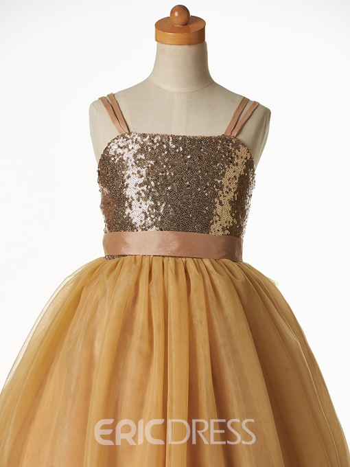 Ericdress Cute Straps Sequins Ball Gown Flower Girl Party Dress