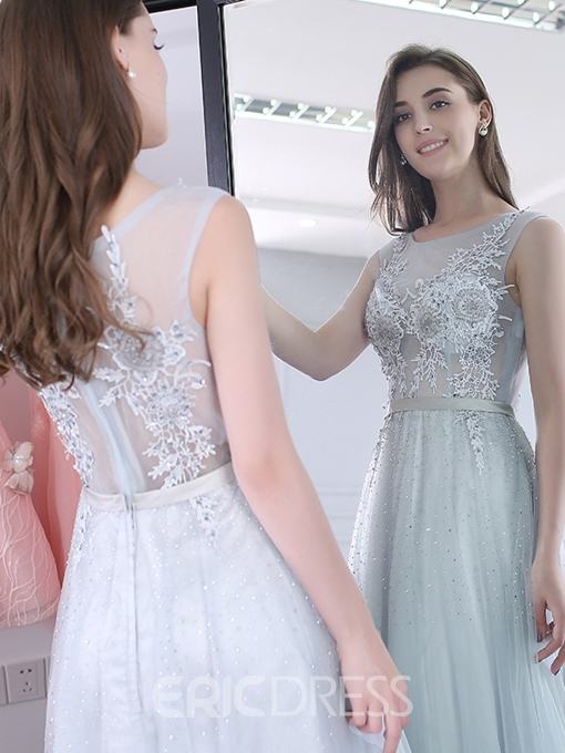 Ericdress A-Line Scoop Appliques Beading Sashes Floor-Length Evening Dress