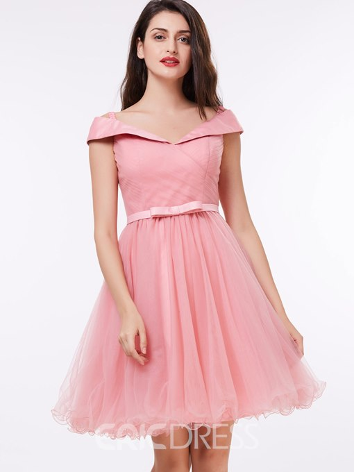 Ericdress Lovely Off the Shoulder Bowknot Short Homecoming Dress