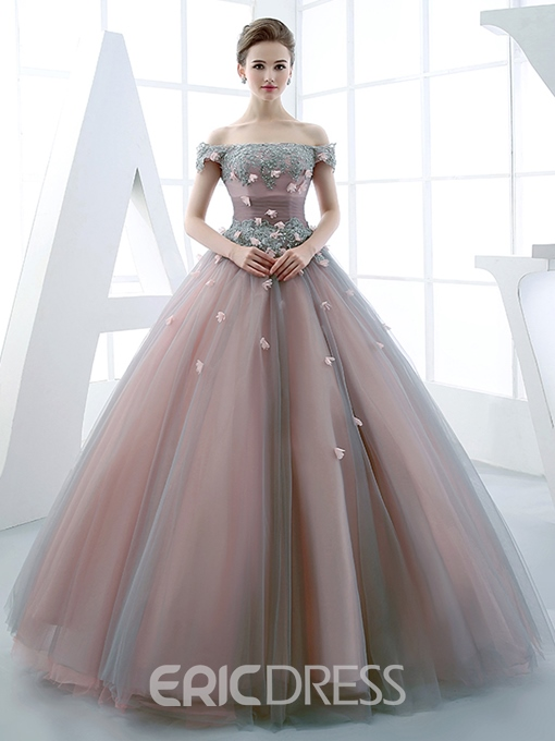 Off-the-Shoulder Ball Gown Beaded Floor-Length Quinceanera Dress