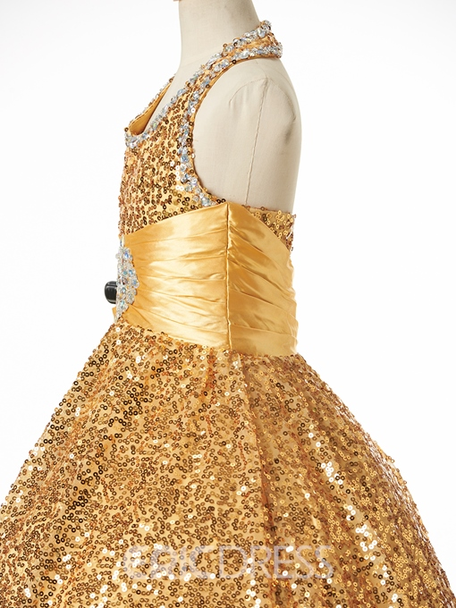 Ericdress Beautiful Halter Sequins Ball Gown Flower Girl Dress