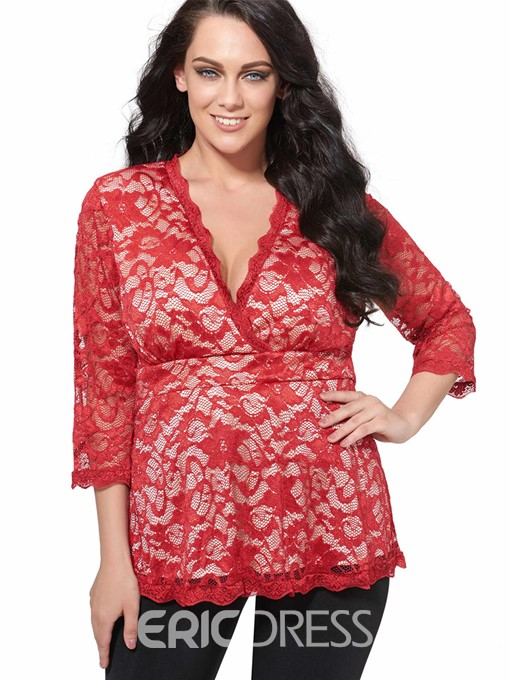 Ericdress V-Neck Lace Half Sleeve Plus Size T-shirt